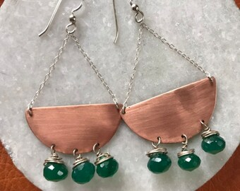 "The large ""Quincy"" earring, hand cut copper half circle with green onyx onion briolette beads hanging from silver wire, chain and earwire"
