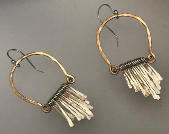 Vivian earrings, handformed arch of 14k gold fill hammered finished with hand forged sterling silver fringe