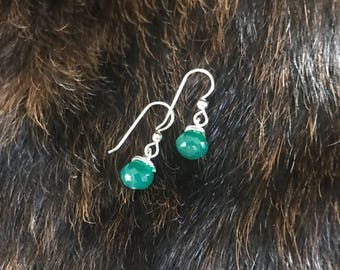 Darla earring: Green onyx drop earring with silver earwire