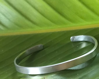 Brushed sterling silver cuff bracelet with curved ends, 1/4 inch width silver, medium size, fits 7.5-9 inch wrist
