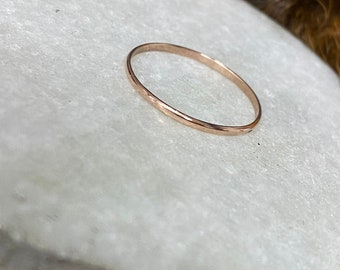 Alicia ring: Handmade, 2 mm wide, 14k rose gold band ring with a polish finish, size 11 3/4 US