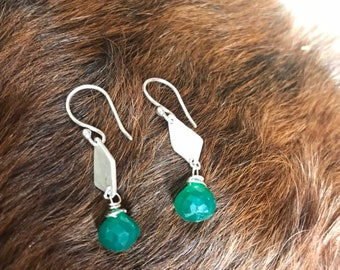 "The ""Josie"" earring, handcut and refined silver diamond shape, a green onyx onion shaped briolette bead and a sterling silver hook"