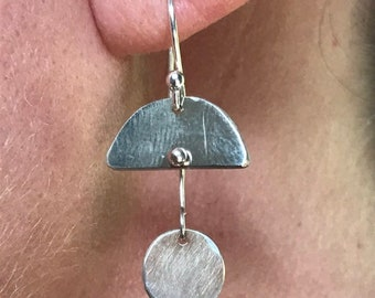 "The ""Georgia"" handmade silver earring, 925 sterling silver half circle with full circle dangling below small size"