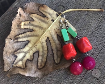 "The ""Wilma"" earring, mod styled and simple light green acrylic bead, coral bead and fuschia colored jade bead and sterlig silver fish hook"
