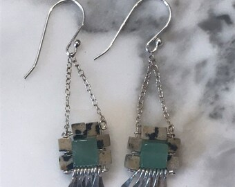 "The ""Carmine"" earring: hammered silver fringe, mint colored aventurine, dalmatian jasper cube beads, sterling silver chain and earwires"
