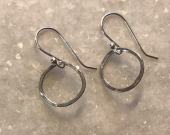 Sterling silver wire hoops, lightly forged 1/2 inch, 18 gauge wire