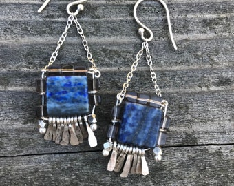 "The ""Carmine"" earring: blue lapis stone with grey smokey quartz cube beads with hammered silver fringe"