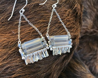 """Grey onyx and labradorite """"Carmine"""" earring with silver faceted beads, with hammered silver fringe, sterling silver chain earwires"""