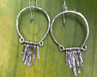 Vivian earrings, handformed arch hammered finished with hand forged fringe in streling silver