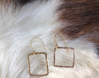 14k gold fill wire squares, lightly forged 1/2 inch, 18 gauge wire