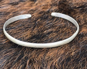 Brushed sterling silver cuff bracelet with balled ends, medium size, fits 7-9 inch wrist