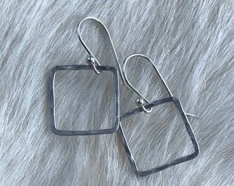 Sterling silver wire squares, lightly forged 1/2 inch, 18 gauge wire