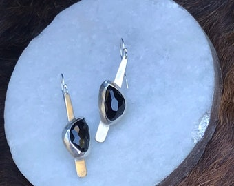 """Natural black onyx """"Dana"""" earring, each is 8.6 carates of natiral black onyx stone set on a strip of sterling silver fringe"""