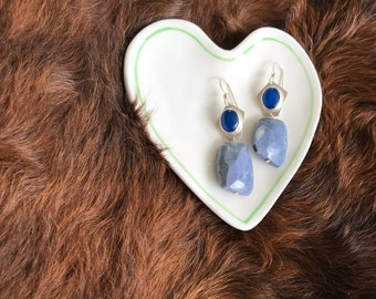 """The """"Tarah"""" earring Blue onyx and blue recrangle bead with silver finishings and earwire"""