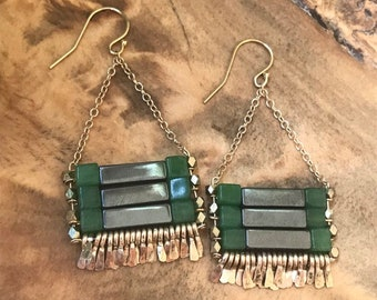 """The """"Carmine"""" earring: shiny pyrite and grass green aventurine with gold chain, earwire, hand forged fringe."""