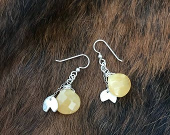 """The """"Sally"""" earring, handcut and refined fine silver circle shape hanging from sterling silver chain and a yellow chalcedony briolette bead"""