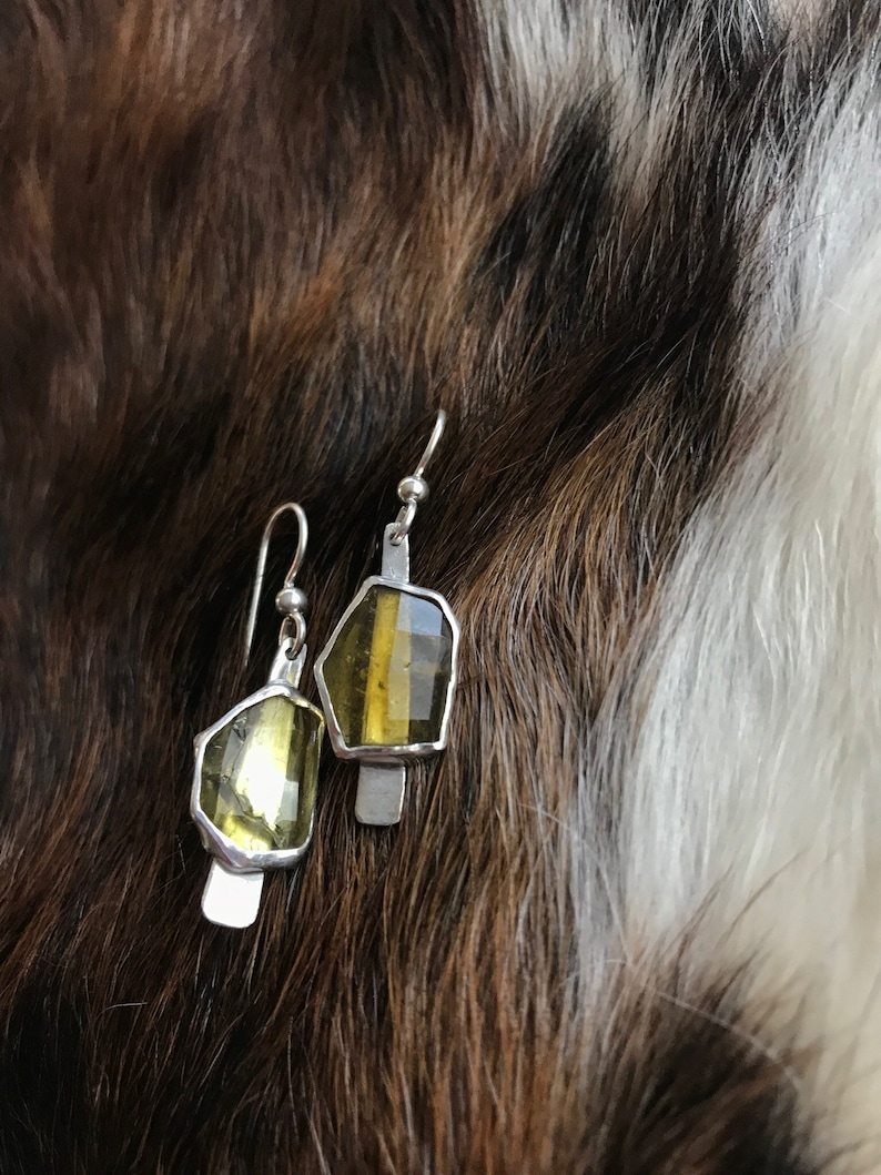 The Dana earring each is 3.5 carates of citrine stone set image 0