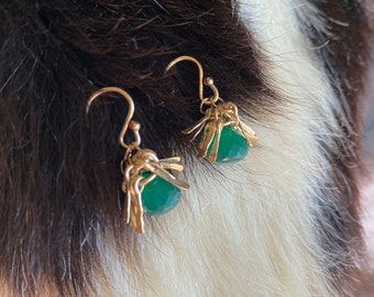 """The """"Gertrude"""" earring is a tassel made of hand forged 14k gold fill metal fringe topping green onyx briolette stone bead and earwires"""
