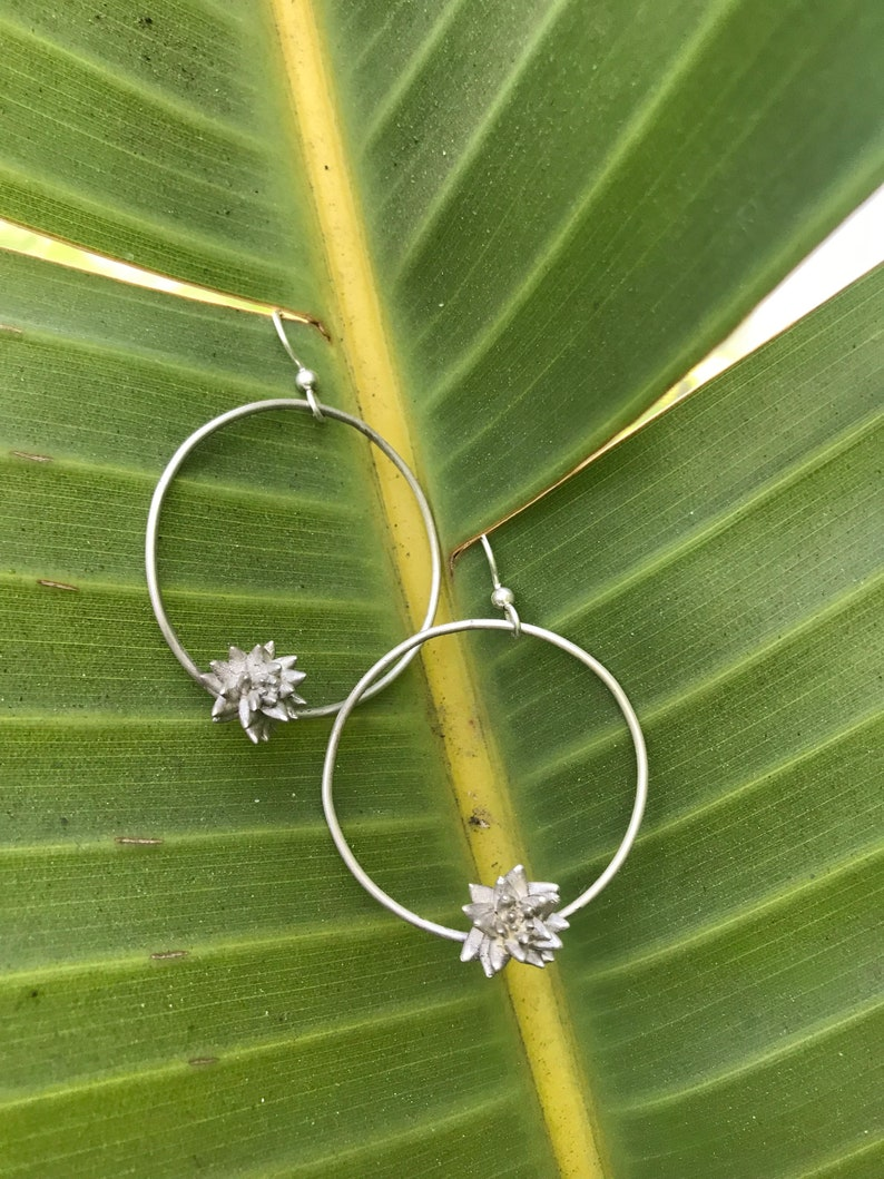 Alice earring Silver Succulent on 1.5 inch hoops with silver image 0