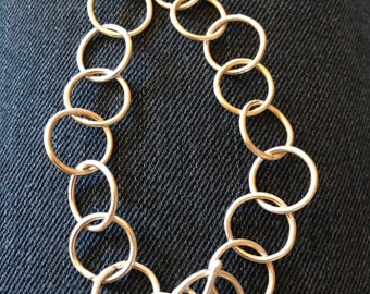Alicia bracelet 8 inch length, 1/2 inch link circle sterling silver metal bracelet with toggle clasp closure all handmade