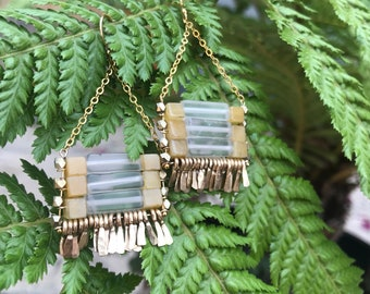 """The """"Carmine"""" earring: grey onyx and yellow jade with gold chain, earwire, hand forged fringe."""