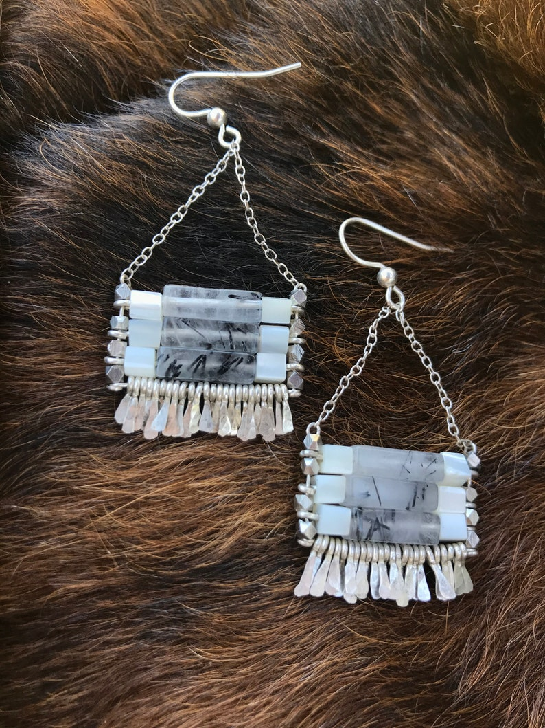 black rutilated quartz and mother of pearl with silver chain The Carmine earring earwire hand forged fringe.