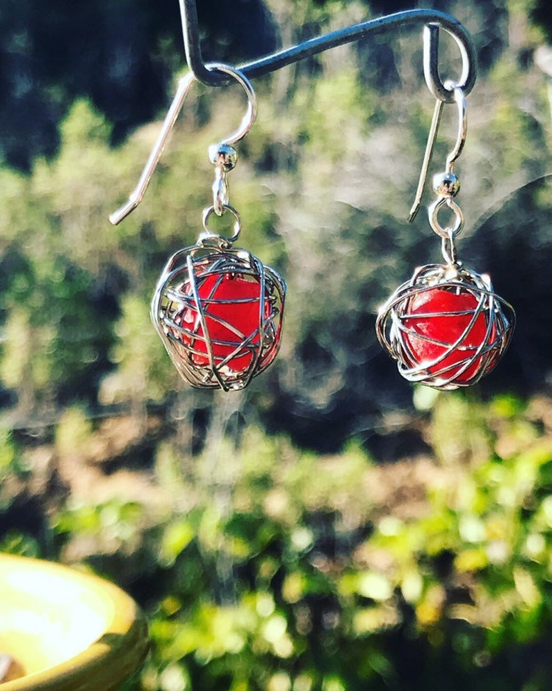 Leesa earring: Recycled red glass bead wrapped with silver image 1
