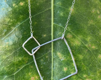 """Lydia necklace with contrasting sized squares 22"""" length"""