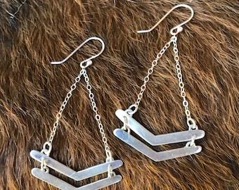 Double chevron silver drop earrings