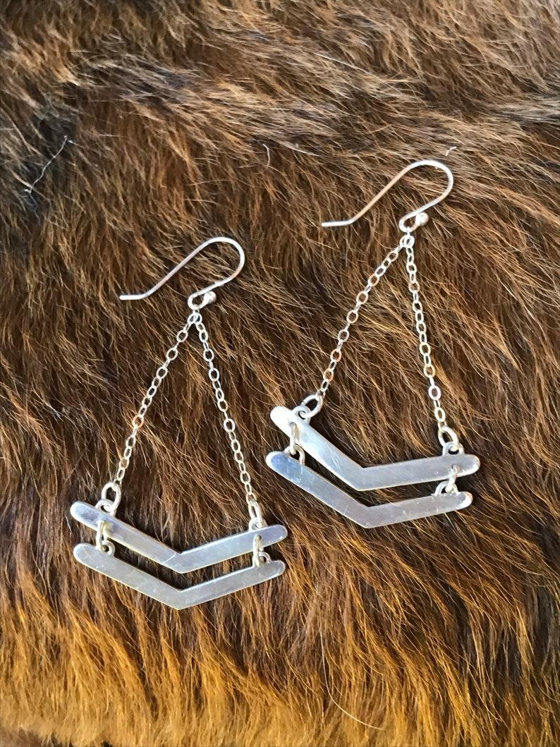 Double chevron silver drop earrings image 0