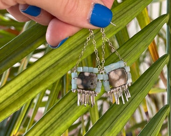 """The """"Carmine"""" earring: hammered sterling silver fringe, Jasper, amazonite cube beads, sterling chain and hooks"""
