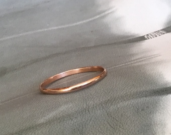 Alicia ring: Handmade, 2 mm wide, 14k rose gold band ring with a polish finish, size 6 3/4 US