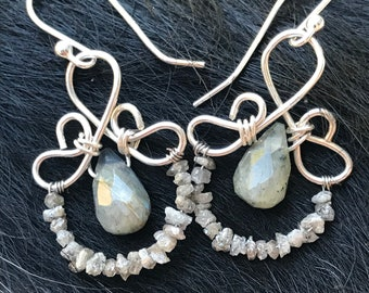 The Emma earring: hand formed sterling silver wire with a labradorite teardrop bead and a string of rough shaped diamond beads