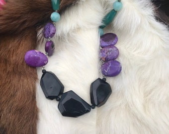 """The """"Lori"""" necklace: black agate, purple agate, blue jade and jade colored glass bead   adjustable length 12 inch to 24 inches long"""