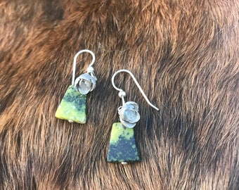 Small sized Alice earring Silver Succulent and a triangle shaped Serpintine stone pair of earrings