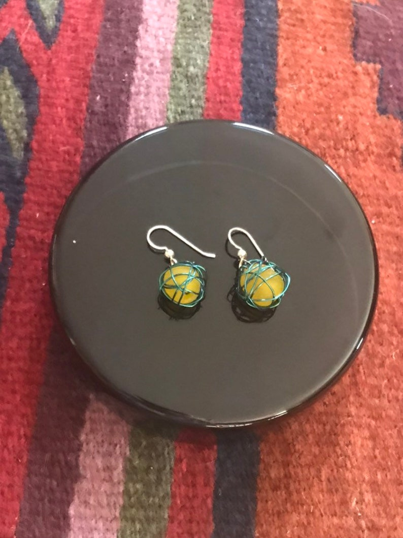Leesa earring: Recycled yellow glass bead wrapped with teal image 0
