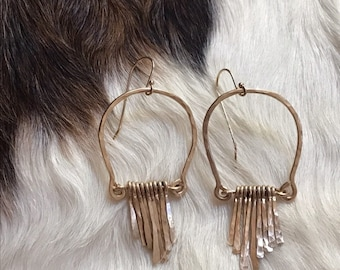 Vivian earrings, handformed arch hammered finished with hand forged fringe in 14k gold fill