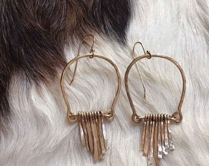 Featured listing image: Vivian earrings, handformed arch hammered finished with hand forged fringe in 14k gold fill