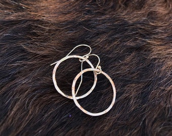 Gold fill wire hoops, lightly forged 3/4 inch, 18 gauge wire