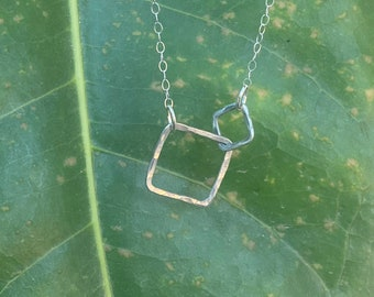 """Lydia necklace with small contrasting sized squares 18"""" length"""