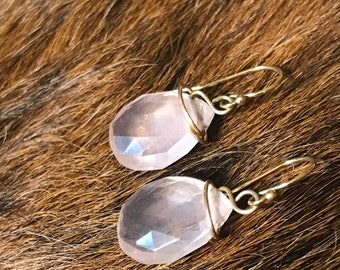 Darla earring: rose quartz teardrop shaped earring with gold fillwire and earwire