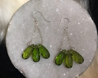 """The """"Ericka"""" earring, three green glass beads on silver wire and hanging from silver chain"""