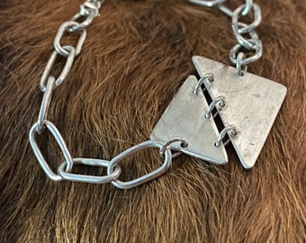 """Karen bracelet a sterling and fine silver metal bracelet, brushed finish and 7 1/2"""" length"""