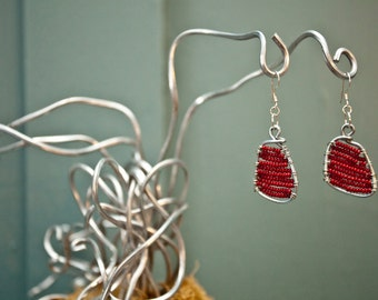The Musa Earrings - Handmade Loomed Square Red Colored Beaded Earring