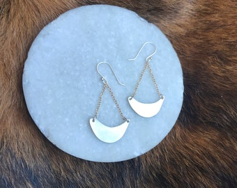 """The """"Jodi"""" earring: Asymmetrical, boho, sling-shaped, handcut, sterling silver, gold filled chain and gold filled fish hook"""