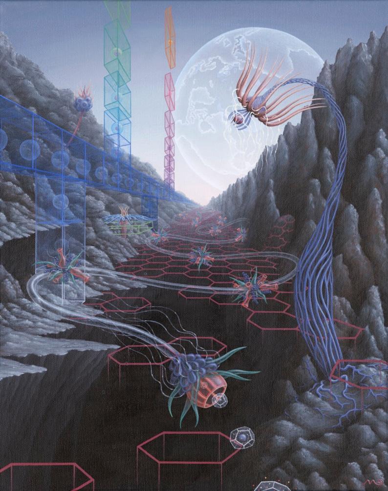 Biosurrealism Surreal art biological surrealism 5 x 7 art card of painting Order and Origin Science art SciArt Surreal art print.