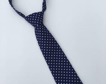 47216a64556f Boys Neck Tie, Navy Blue and White Polka Dot Necktie, Infant Tie, Toddler  Neck Tie, Baby Neck Tie, Small Dot Tie