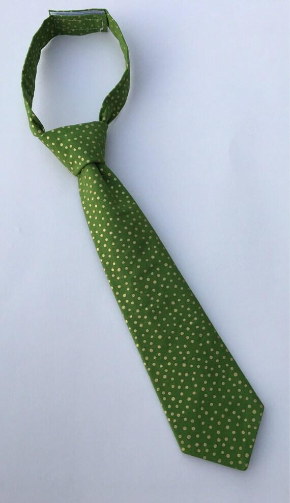 3dff1b06abd6 Boys Neck Tie Green Polka Dot Necktie Infant Tie Toddler