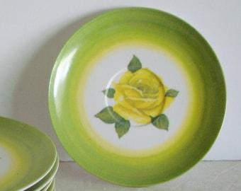 Vintage MELMAC Chartreuse Rose Floral DINNER \u0026 SALAD Plates Mid Century Green Plastic Plate Sets & Lime green melmac | Etsy