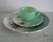 Vintage 3 Pc. Luncheon Set Syracuse RESTAURANT WARE Plates Fire King JADEITE Cup- Brown Mint White Floral Motif